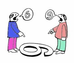 two figures standing over a 6 or 9 disagreeing about what it is
